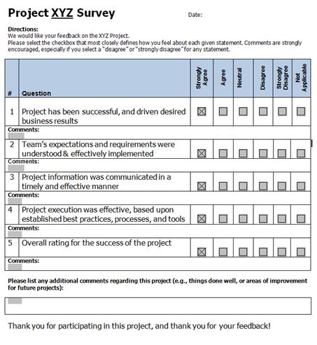feedback survey samples